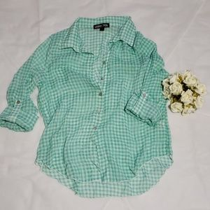 Living Doll Sheer button up blouse sz-L